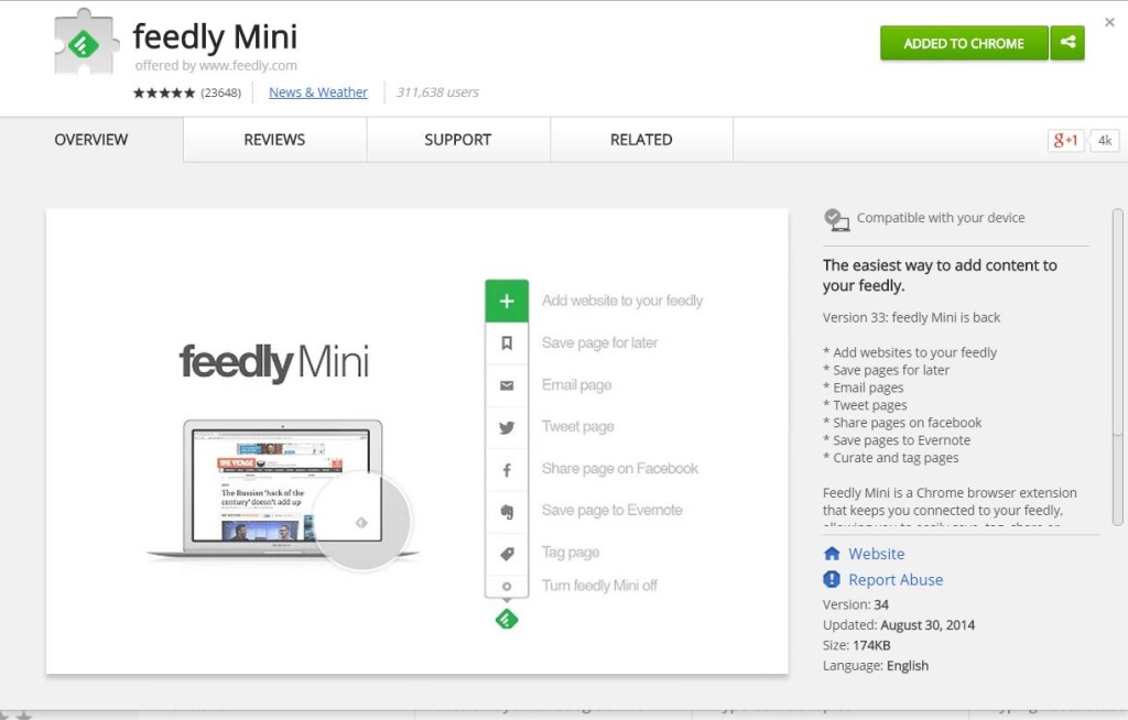 Feedly Mini Chrome Extension2